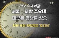 2022 수시 서울‧지방 주요대 대부분 경쟁률 상승…학부 부활 약학계열 '초강세'